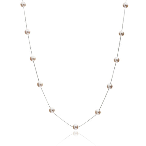 Single Strand Sterling Silver Chain Necklace With Pink Cultured Freshwater Pearls