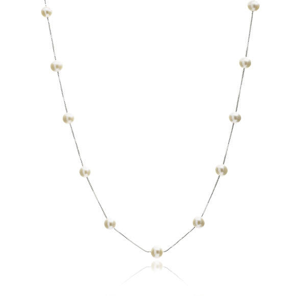 Single strand sterling silver chain necklace with cultured freshwater pearls