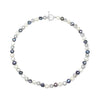 Single strand black, grey & white irregular-shaped cultured freshwater pearl necklace