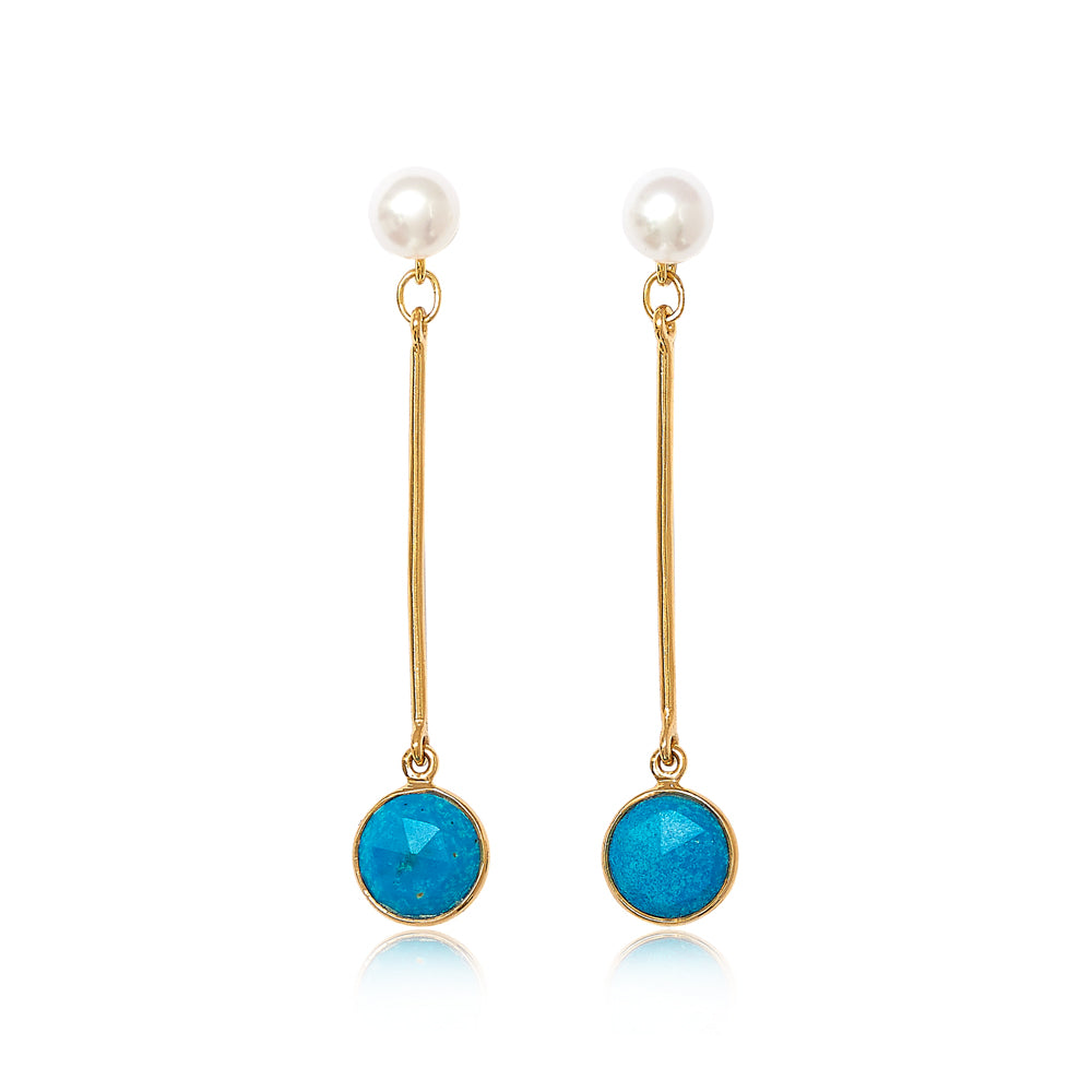 Nova cultured freshwater pearl with gold stem earrings with turquoise drop