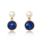 Nova lapis lazuli & cultured freshwater pearl drop earrings