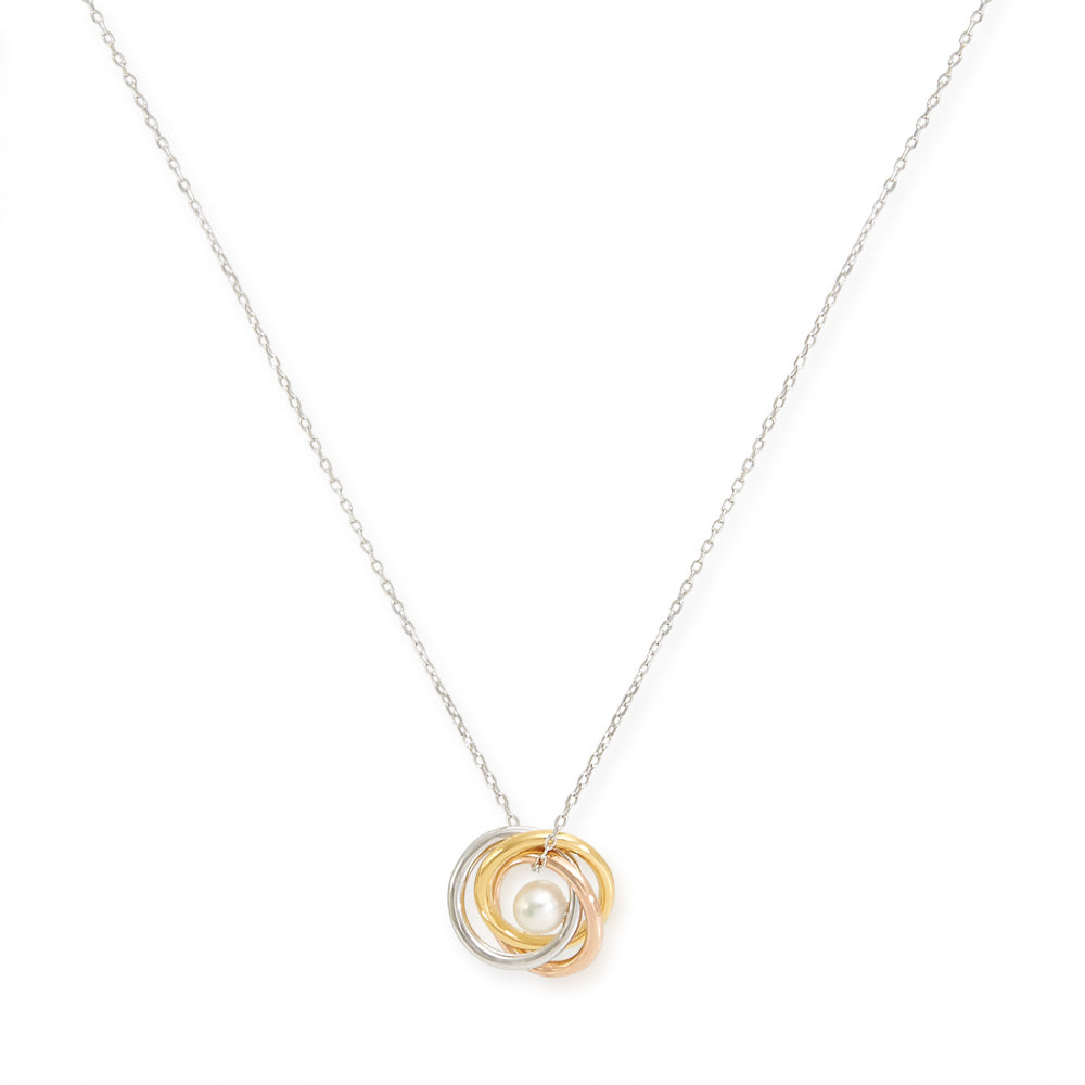 Triple ring & cultured freshwater pearl pendant