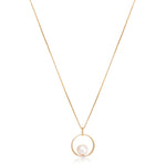 Gratia 6.5-7mm cultured akoya sea pearl & diamond circle pendant set in 18kt yellow gold