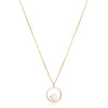 6.5-7mm cultured akoya sea pearl & diamond circle pendant set in 18kt yellow gold
