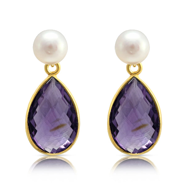Cultured Freshwater Pearl & Amethyst Drop Earrings
