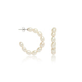 Credo oval cultured freshwater pearl hoop earrings