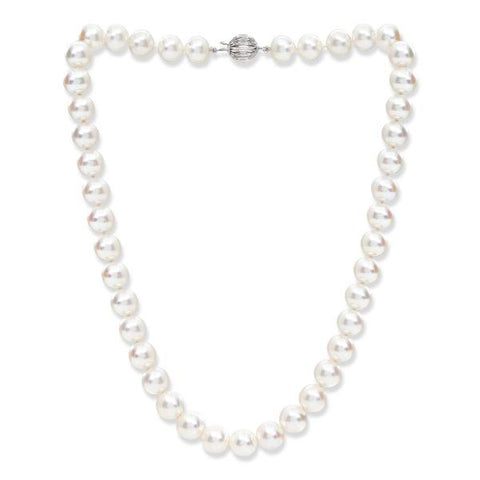 10mm almost round cultured freshwater pearl necklace with 14kt white gold clasp