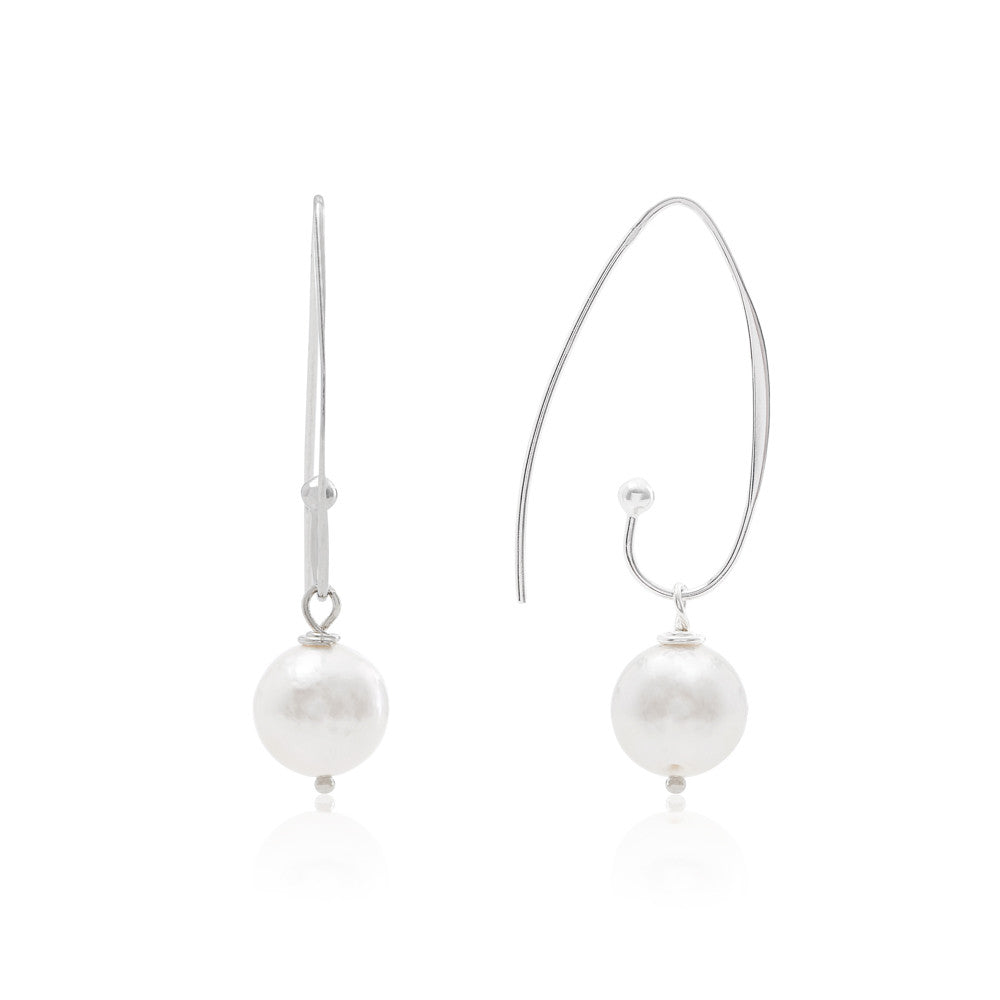 Large almost round cultured freshwater pearl drop earrings