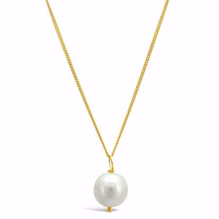 Large almost round cultured freshwater pearl pendant on gold chain