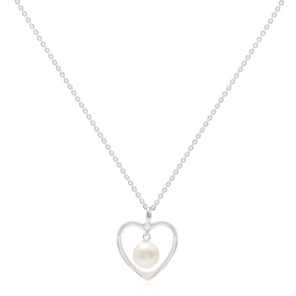 Silver Heart Pendant With Cultured Freshwater Pearl Drop