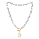 Clara grey cultured irregular freshwater pearl necklace with moonstone gold vermeil drop