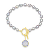 Silver grey oval cultured freshwater pearl bracelet with dusky blue chalcedony