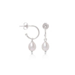 Gratia Small Silver Hoop Earrings with Cultured Freshwater Pearl Drops