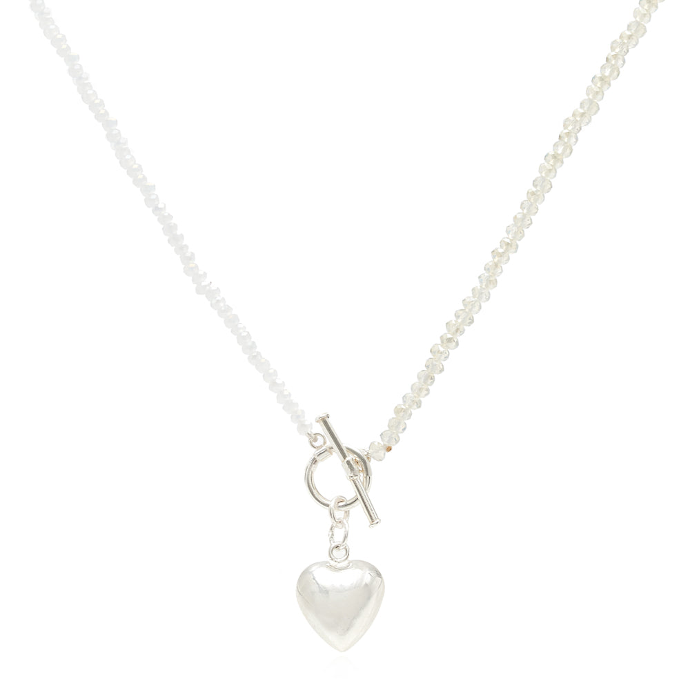 Amare tiny cultured freshwater pearl & crystal necklace with silver heart