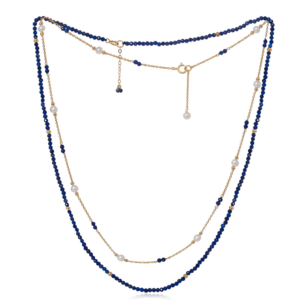 Clara fine double chain set with faceted lapis lazuli & cultured freshwater pearls
