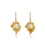 Vita Cultured Freshwater Pearl Leaf Drop Earrings in Gold