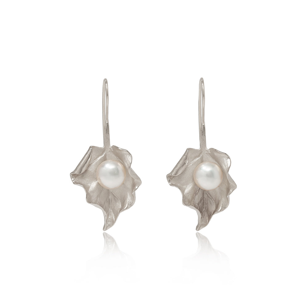 Vita Cultured Freshwater Pearl Leaf Drop Earrings in Silver