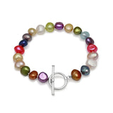 Margarita multi-colour cultured freshwater irregular-shaped pearl bracelet