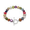 Multi-colour cultured freshwater irregular-shaped pearl bracelet