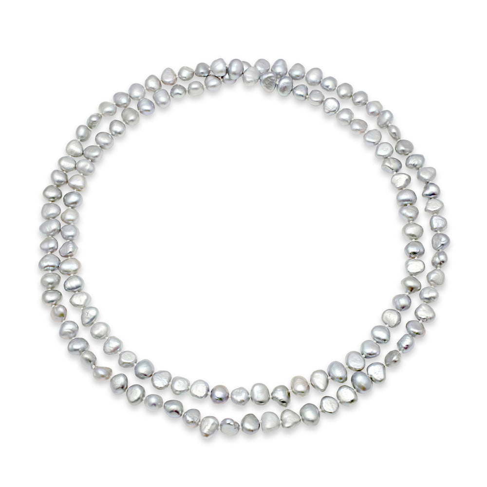 Margarita silver grey cultured freshwater pearl loop necklace