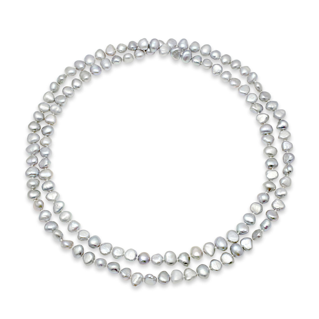 Silver grey cultured freshwater pearl loop necklace