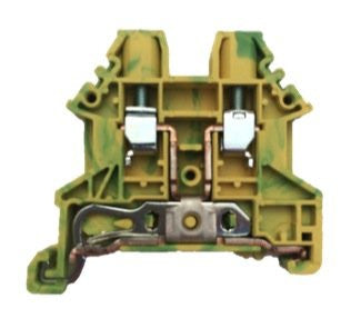 Dinkle DK4N-PE DIN Rail Grounding Terminal Block Screw Type Green Yellow IEC 630V UL 30A 10-28AWG