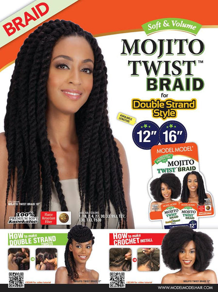 Model Model Mojito Twist for Double Strand Aka Cuban Twist or Havana Twist