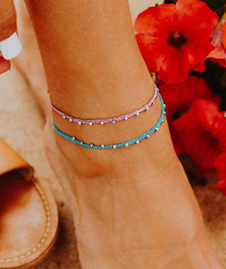 Dainty, ankle jewelry in pink and turquoise