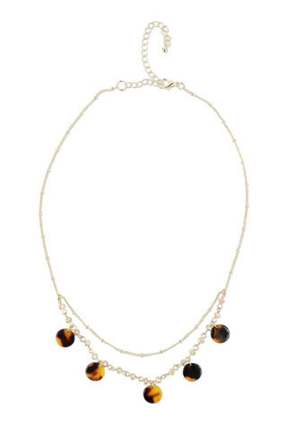 Gold choker with brown, resin medallions