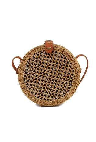 A circle, brown straw purse