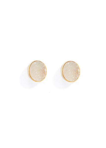Love, Poppy Oval Druzy Earrings