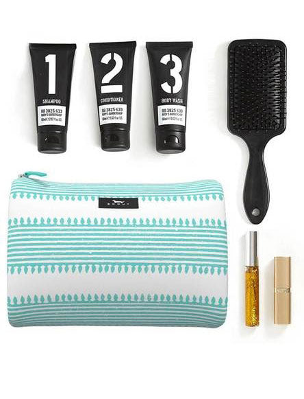 A makeup bag and travel kit