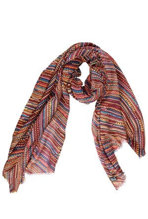 A multi-colored, stripped spring scarf