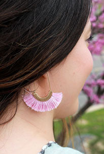 Bright pink, tassel summer jewelry earrings