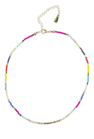 Colorful, rainbow beaded necklace