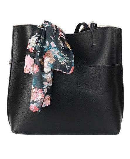 A black handbag and scarf