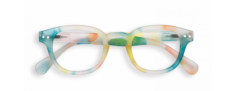 Pastel, rainbow speckled IZIPIZI glasses.