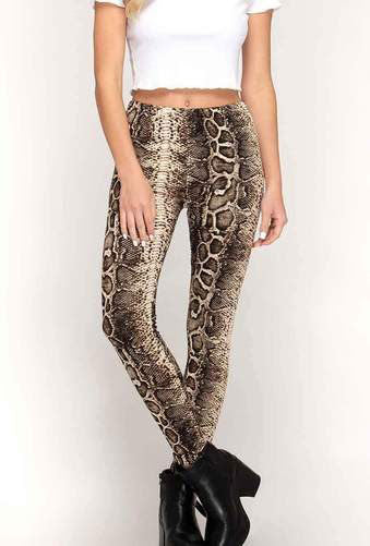 A pair of leggings with a snakeskin pattern