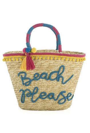 A straw tote purse with the embroidered saying, 'Beach Please.'