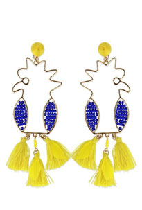 Bright yellow and purple, bird shaped tassel summer jewelry earrings