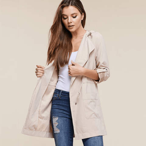 rainy day outfits Drawstring jacket