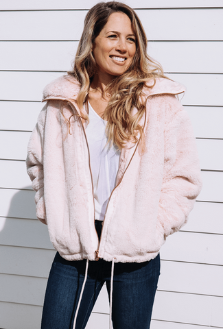 pink faux fur bomber jacket