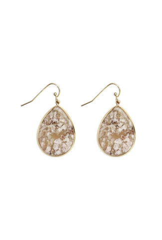 Stylish, gold earring accessories with marbled stones.
