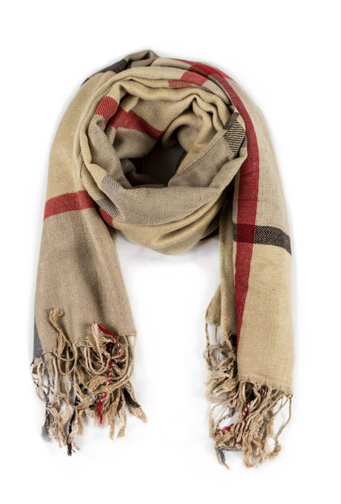 beige plaid scarf