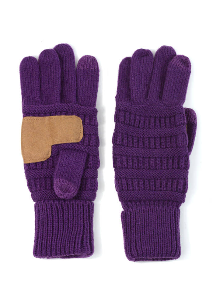 purple winter gloves