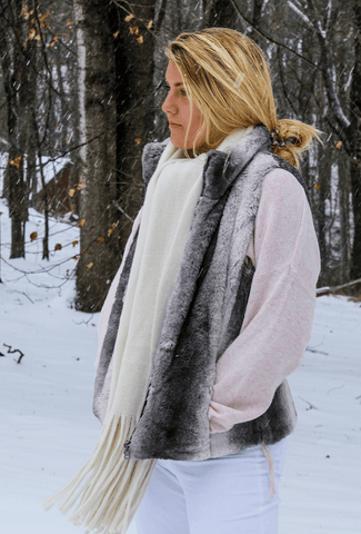 gray faux fur reversible vest