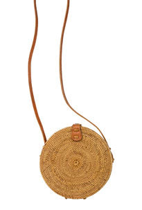 Round, straw crossbody purse