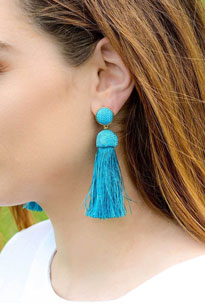 Bright blue, tassel summer jewelry earrings