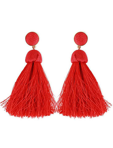 Red, tassel earrings