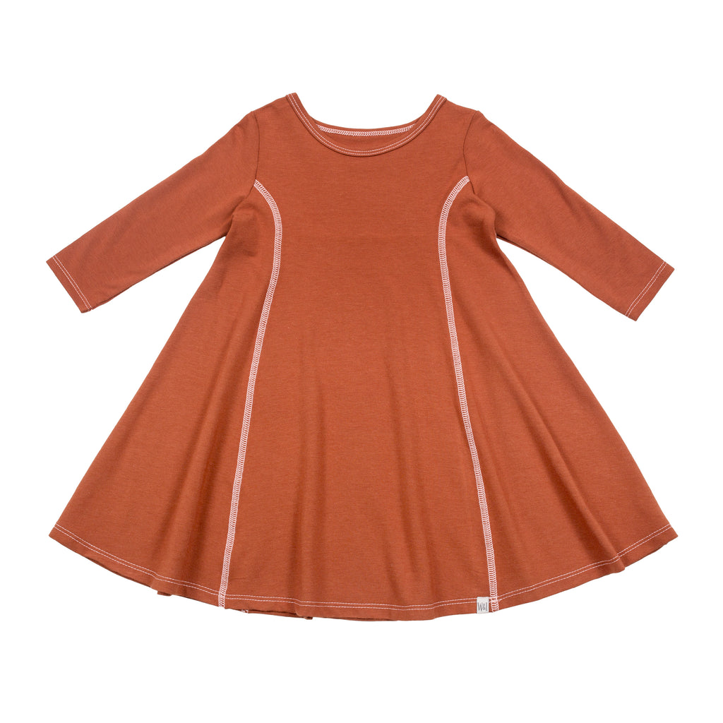 Long Sleeve Swing Dress - Rust
